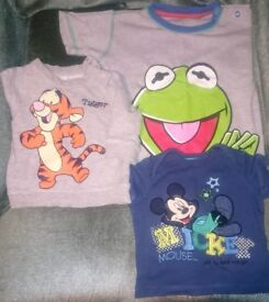 variety of baby clothes with favorite children's characters