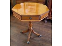 Lovely Octagonal Yew Drum Table on Pedestal Leg - WE CAN DELIVER ACROSS THE UK