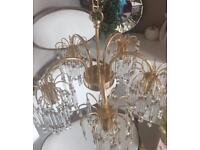 Gold And crystal ceiling light and 2 wall lights,