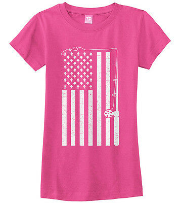 Fish Girl Fitted Shirt - Fishing American Flag Girls Fitted T-Shirt USA Fish Fisherman