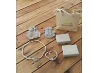 Vivienne Westwood Bas Relief Pearl Necklace and Bracelet with original boxes