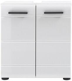 Furnline 1116-301-01 Skin High Gloss Bathroom Under Sink Cabinet, White