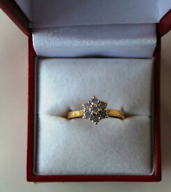 """18CT YELLOW GOLD & DIAMOND """"DAISY STYLE"""" CLUSTER RING, INSURANCE VALUATION £1400 (SN8)"""