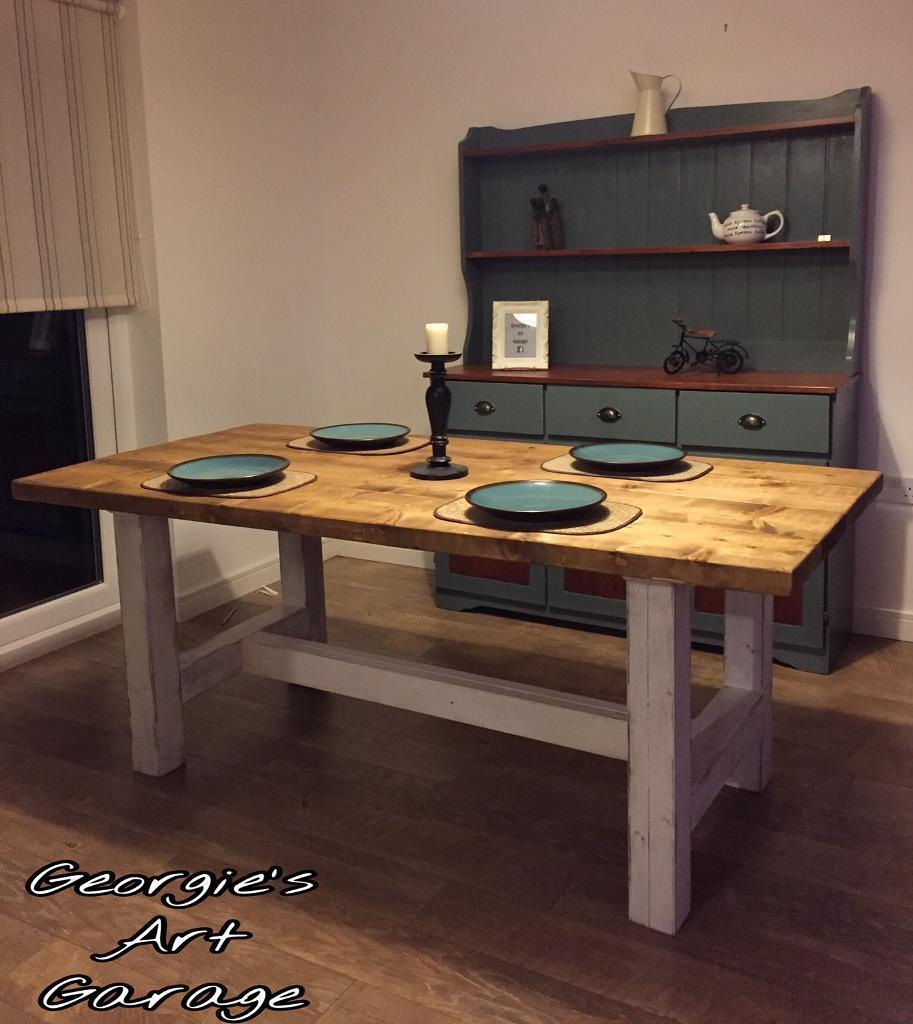 Unique Very Solid Handmade Urban Rustic Style Dining Table