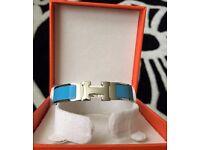 Hermes Clic Clac Blue Enamel Bracelet Palladium Hardware