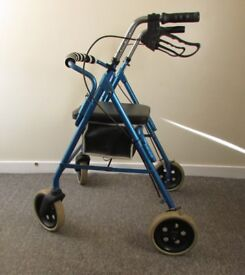 Roma walking aid rollator 4 wheel walker zimmer brakes seat foldable lightweight 114Kg user weight