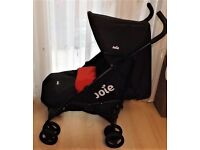 joie ,pram in black and red ,footmuff and a raincover, clean g.w.o.