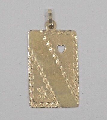 14k Solid Yellow Gold Diamond Cut Engraveable Pendant for Necklace ~ 2.3 -