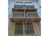 Set of 6 drawers (front, handle, runners & back sides base) 55cm wide