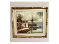 VINTAGE ORIGINAL LANDSCAPE FRAMED OIL PAINTING BY L.COSTELLO -WINDMILL & COTTAGE