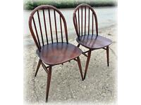 2 x vintage Ercol Windsor chairs