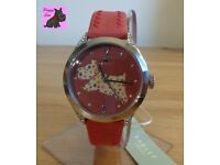 Radley RY2175 Ladies 'Spotty Dog' Red Leather Strap Watch - NEW - RRP: £95