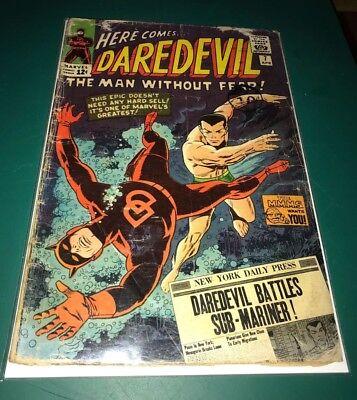 Marvel Daredevil #7 GD/GD+ condition Battles Sub-Mariner 1st red costume 04/65
