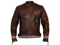 Mens David Beckham Vintage Brown Stannard Leather Jacket