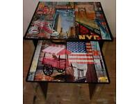 NEST OF 2 TABLES COVERED IN NEW YORK DESIGN WITH MIRRORED LEGS & SIDES RED & WHITE
