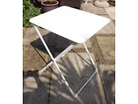 As new sturdy white folding metal garden table ideal patio bistro use easy to store no chairs