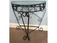 Vintage / Retro 1950s Black Wrought Iron Hall Table with Glass Top H32.5in/80cmW31in/79cmD16in/41cm