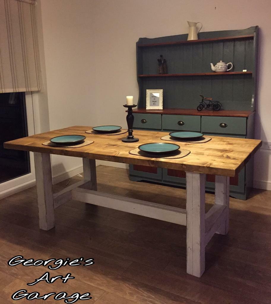 Elegant Solid Custom Made Rustic Urban Style Dining Table In Stepps Glasgow Gumtree