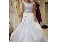 Bardot style wedding dress in ivory