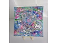 "Original Psychedelic/Abstract Canvas Painting, ""Swirlpool"" 8"" x 8"""
