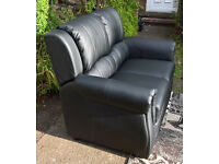 Ex-display Brampton Black Leather 2 Seater Sofa ( two available )