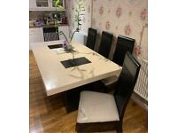 Marble dining table with 6 chairs 1.8m