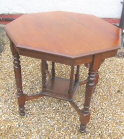 Victorian Aesthetic Antique Octagonal Occasional Side Table Two Tier - Mahogany