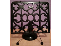 Heavyweight Ornate Black Cast Iron Cook Book Stand Recipe Holder