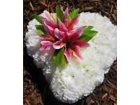 BEAUTIFUL HANDMADE GRAVE WREATH PINK LILLIES £18.00