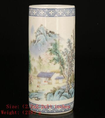 RETRO CHINESE PORCELAIN POT VASE PAINTING TREE HOUSE HILL HOME -