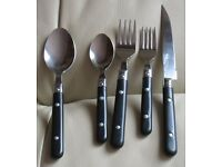 CUTLERY, 38 pieces, stainless steel, black studded handles, knives, forks,spoons, good condition.