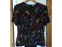 BLACK TIE OLEG CASSINI Silk Top Sequin Beaded Top Blouse M