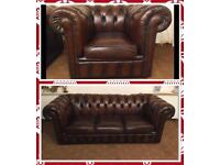 Chesterfield 3 Seater Brown Leather Sofa & Armchair For Sale BARGAIN!🔥🎉!