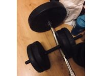 Dumbells and Biceps Curl Barbell 2x10kg and 1x30kg