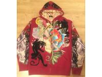 2 brand new Christian Audigier rhinestone decorated men's authentic large luxury designer hoodies