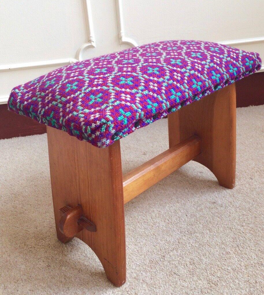 Vintage Retro 1970's Purple Welsh Wool Pine Wooden Funky Folk Stool Bench Seat
