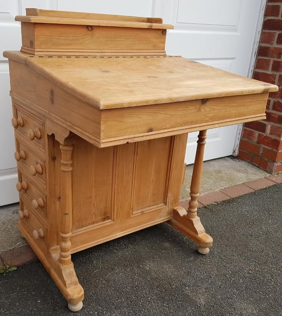 Antique Pine Writing Desk With Lid Drawers And Letter Rack
