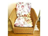 Large wicker conservatory style chair, complete with cushions