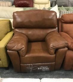 Brown Leather DFS Recliner Armchair