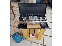 CAMPING COOKER GRILL AND GAS NEW