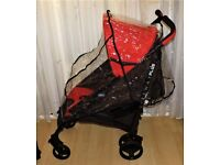 liteway plus pram by chicco ,red and brown , with black frame + raincover VGC