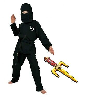 Fries Ninja Kostüm schwarz mit Lego Ninjago Dolch 116 - (Lego Ninjago Schwarzer Ninja Kostüm)
