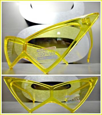 Exaggerated Exotic Funky Retro Cat Eye Style SUNGLASSES Pointy Yellow Frame (Exaggerated Cat Eye Sunglasses)