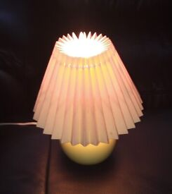 Small table lamp with corrugated shade