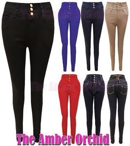 femme taille haute jeans slim moulant femme pantalon 34 42 neuf ebay. Black Bedroom Furniture Sets. Home Design Ideas