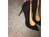 Black Studded Thin Heels