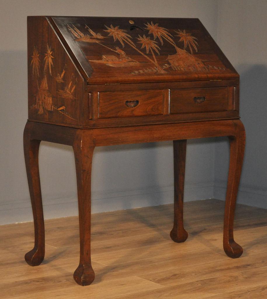 Attractive Good Quality Vintage Oriental Carved Hardwood Bureau Desk Drawers