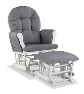 (2 AVAILABLE) New Storkcraft Hoop Custom Glider and Ottoman, White/Slate Gray Swirl, PICKUP ONLY - DI2