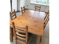 Large Extending Dining Table & 6 Matching Chairs with Cushions