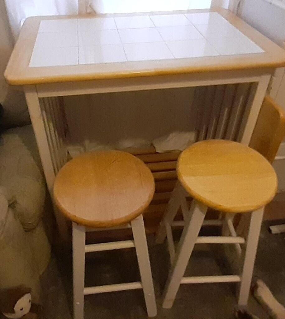 huge selection of 408f6 91d40 Wood Breakfast Bar Table + 2 Stools | in Walton, Merseyside | Gumtree